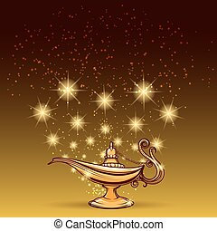 Gold glitters and aladdin lamp magic background vector