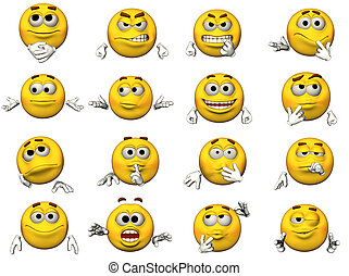 16 Emoticons - 16 isolated illustrations of emoticons