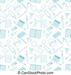 Seamless pattern with different school objects