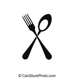Spoon and fork icon, simple style - Spoon and fork icon in...