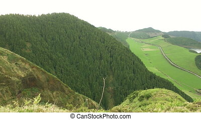 High Up View Over the Sete Cidades - A top view from Sete...