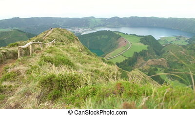 A lookout from the Sete Cidades - Slow sliding motion along...