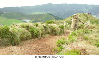 Empty Viewpoint Pathway of Sete Cidades - Nobody on the Sete...