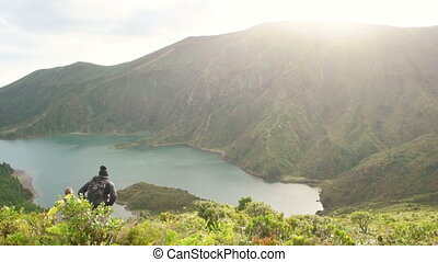 People Hiking on Azore Island - Static overview of beautiful...
