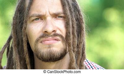 portrait of dreadlock man
