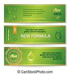Aloe vera horizontal banners set with drops elements on...
