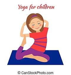 Yoga for Kids. Children activities. Girl doing exercises
