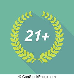 Long shadow laurel wreath with the text 21+ - Illustration...