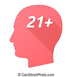 Isolated long shadow male head with the text 21+ -...