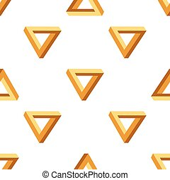 Seamless Triangles Pattern. Impossible Orange Triangle...