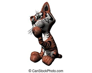 Plush tiger - 3D Illustration of a plush tiger