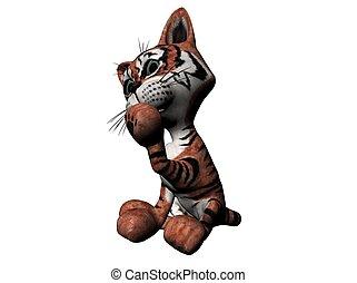 Plush tiger - 3D Illustration of a plush tiger