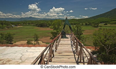 Wooden Bridge with Railings Leading to Observation Ground -...