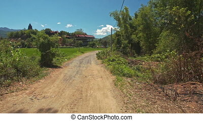 Ground Country Road Past Trees Field Distant Village -...