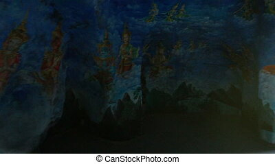 Pictures on Corridor Walls in Artificial Caves in Park -...