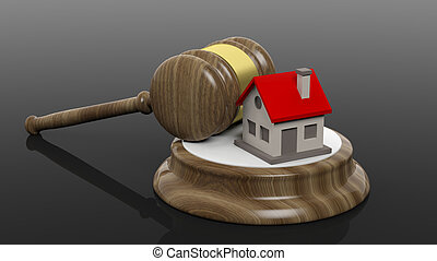3D rendering of wooden gavel and house symbol, isolated on...