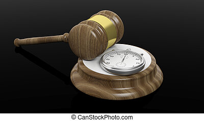 3D rendering of wooden gavel and chronometer, isolated on...