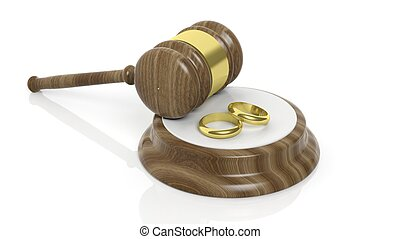 3D rendering of wooden gavel and two gold wedding bands,...