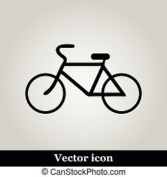 Bicycle icon on grey background, vector illustration.