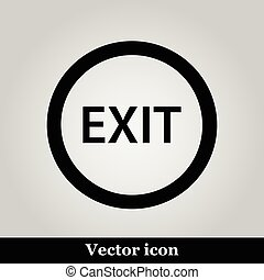 Exit icon on grey background