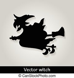 Witch flying image on grey background, vector illustration