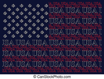 United States of America Text Flag - United States of...