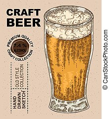 Hand drawn glass with beer. Alcohol drink sketch vector...