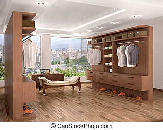 wide closet with a large window, modern home interior. 3d...