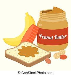 Vector peanut butter, bread, peanut