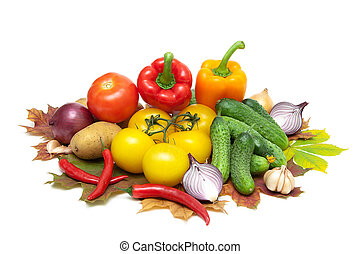 fresh vegetables isolated on white background close up