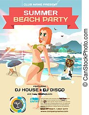 Vector summer party invitation beach style. Day, woman in bikini. Posters or flyers. Template flat cartoon illustration.