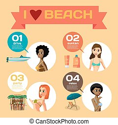 Vector Infographic set flat design about women on the beach....