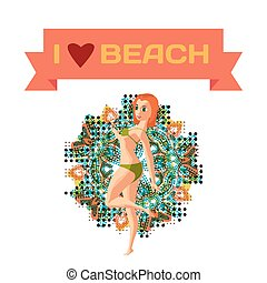 Red-haired woman dressed in green swimsuit is standing on...