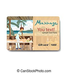 Woman pampering herself by enjoying day spa massage on the beach. Sale discount gift card. Branding design for massage salon
