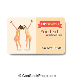 Brunette woman dressed in yellow swimsuit is standing and makes selfie. Back, front  view. Sale discount gift card. Branding design for smartphones and accessories shop