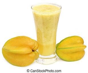 Carambola juice over white background