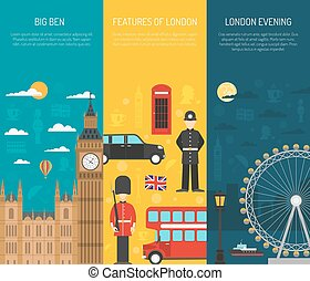 London Sightseeing 3 Vertical Banners Set - London visitors...