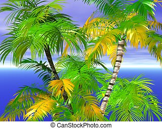 Palm trees on the sea. Rendered with Bryce 6