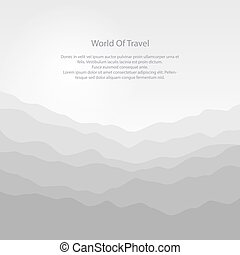 Silhouette of the Mountains at Sunrise and Text, View of the...