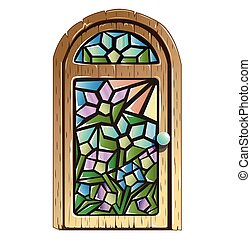 Doors with stained glass