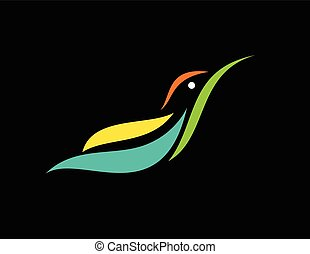 Vector image of an humming bird design on black background,...