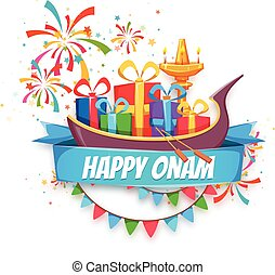 Onam sale banner with ribbon. Vector illustration.
