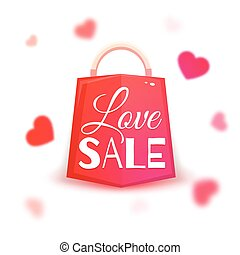 Sale banner with red hearts. Vector illustration