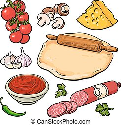 Set of sketch style pizza ingredients, vector illustration...