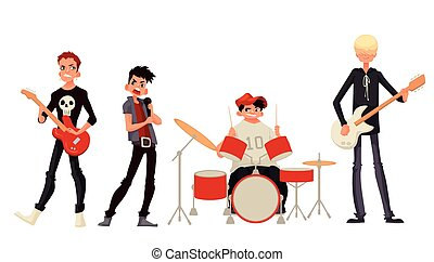 Cartoon rock group musicians vector illustration isolated on...
