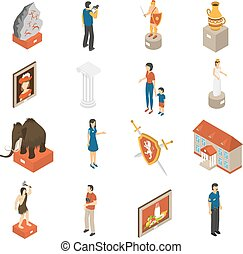 Art Museum Isometric Icons Set - Historical museum building...