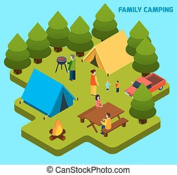 Camping And Travel Isometric Composition - Camping and...