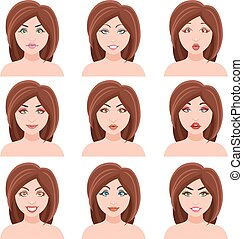 Woman Faces Vector Set