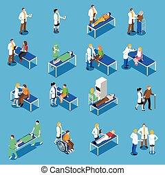 Doctor Patient Communication Isometric Icons Set -...