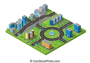 Isometric City Street Composition Poster - City business and...